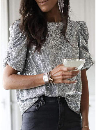 Sequins Round Neck Puff Sleeves Short Sleeves Casual Blouses