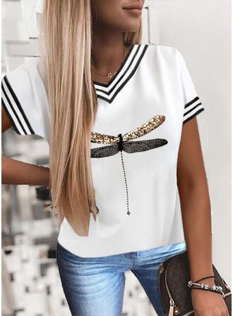 Gestreift Pailletten V-Ausschnitt Kurze Ärmel T-Shirts