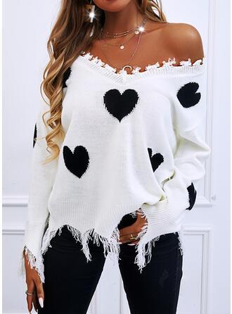Minta Καρδιά V-nyak Ανέμελος πουλόβερ