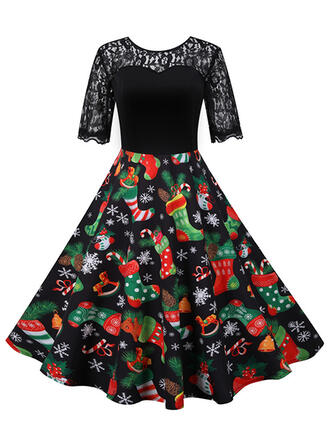 Print 1/2 Sleeves A-line Knee Length Christmas Skater Dresses