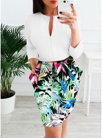 Print/Floral 3/4 Sleeves Sheath Knee Length Casual Dresses