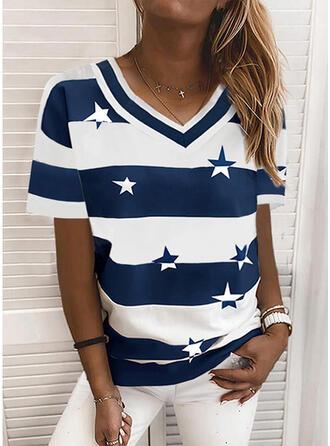 Color Block Print V-hals Korte Mouwen T-shirts