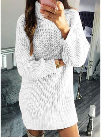 Solid/Chunky knit/Cable-knit Long Sleeves Shift Above Knee Casual Dresses