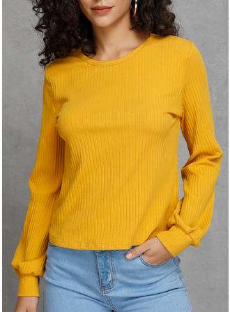 Polyester Einfarbig Pullover