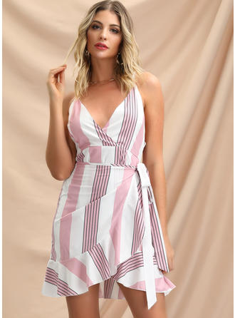 Striped Sleeveless Sheath Above Knee Sexy/Casual/Vacation Dresses