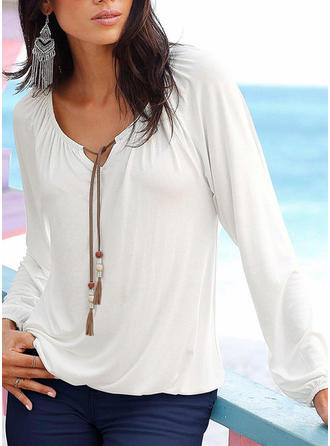 Plain Round Neck Long Sleeves Casual Blouses
