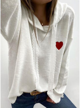 Embroidery Lace Heart Hooded Casual Sweaters