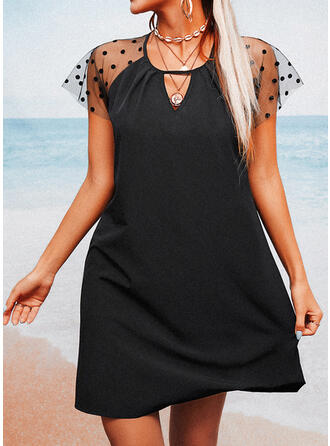 PolkaDot Short Sleeves Shift Above Knee Casual Tunic Dresses