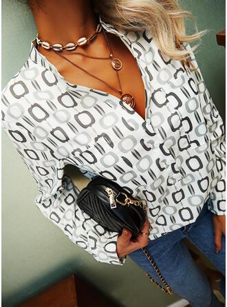 Nadruk Dekolt w kształcie litery V Długie rękawy Casual Bluski koszulowe