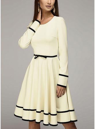 Solid Knee Length A-line Dress