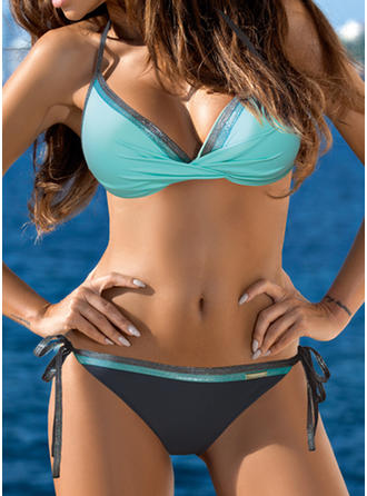 Low Waist Splice color Halter Sexy Elegant Fashionable Bikinis Swimsuits