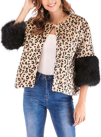 Cotton 3/4 Sleeves Animal Print Faux Fur Coats