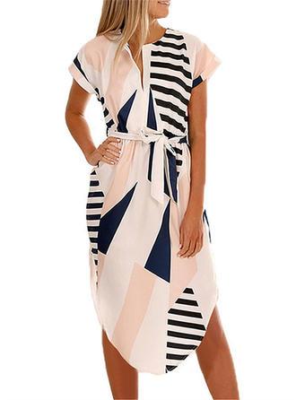 Print/Floral Short Sleeves Sheath Asymmetrical Casual/Boho/Vacation Dresses