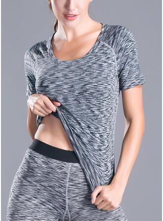 U-Neck Short Sleeves Solid Color Sports Sweatshirts