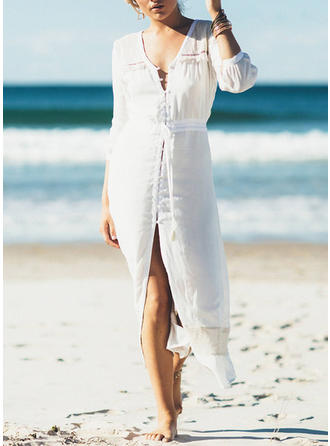 Couleur Unie Manches longues Col V Sexy Tenues de plage Maillots De Bain
