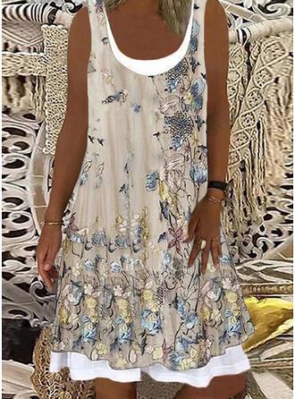 Print/Floral Sleeveless Shift Knee Length Casual/Vacation Tank Dresses