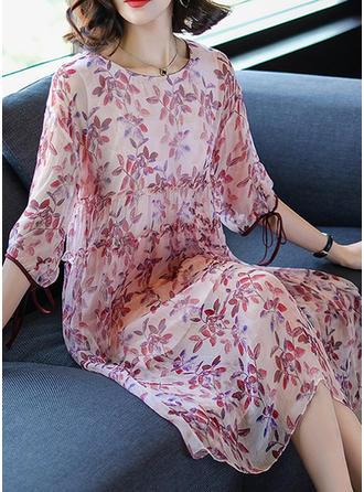 Polyester With Print Midi Dress
