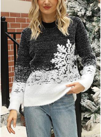De mujer Mezcla de Algodón Impresión Suéter feo de navidad