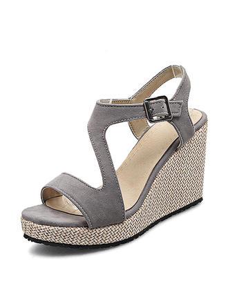 Donna Camoscio Zeppe Stiletto Piattaforma Zeppe Punta aperta Con cinturino con Fibbia scarpe
