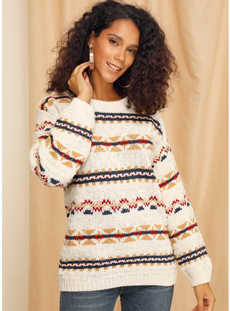 Print Cable-knit Chunky knit Round Neck Sweaters
