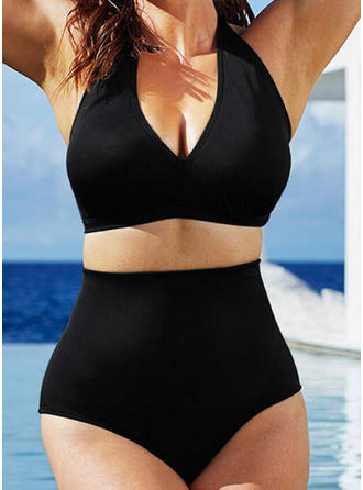 Solid Color High Waist Halter Sexy Plus Size Bikinis Swimsuits
