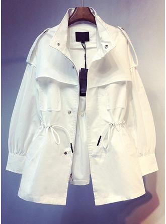 Cotton Long Sleeves Plain Print Trench Coats