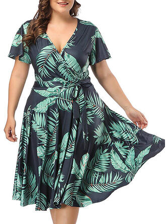 Print Short Sleeves A-line Knee Length Casual/Elegant/Plus Size Dresses