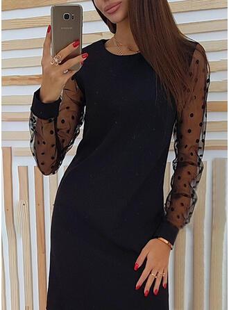 Solid/PolkaDot Long Sleeves Shift Above Knee Vintage/Casual Dresses
