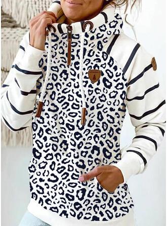 Stribe Leopard Lommer Lange ærmer Hoodie