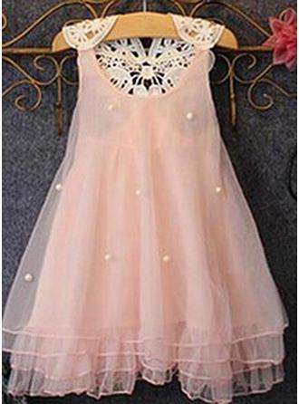 Dziewczyny Okrągły Dekolt Solidny Perły Nieformalny Ładny Sukienka