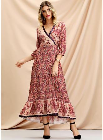 91c60a64c5 szybki podgląd Nadrukowana Rękawy 3 4 W kształcie litery A Asymetryczna  Casual Elegancki Sukienki
