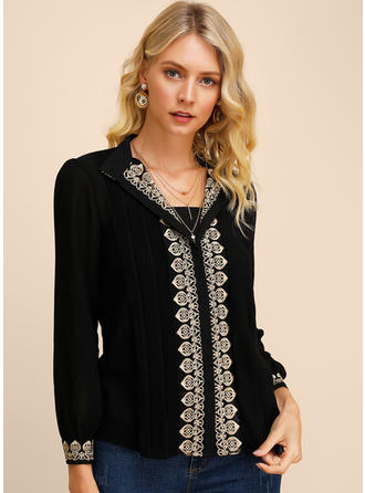 Embroidery V neck Long Sleeves Casual Elegant Blouses