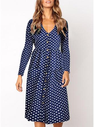 PolkaDot V-neck Knee Length Shift Dress