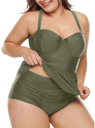 Solid Color Strap Cute Plus Size Tankinis Swimsuits
