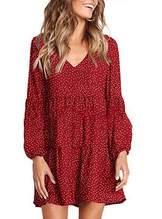 PolkaDot Long Sleeves Shift Above Knee Casual/Vacation Dresses