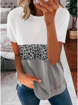 Blok Koloru lampart Okrągły dekolt Krótkie rękawy T-shirty