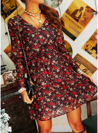 Print/Floral Long Sleeves A-line Above Knee Casual/Elegant Skater Dresses