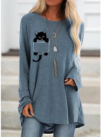 Dierenprint Ronde nek Lange Mouwen Sweatshirts