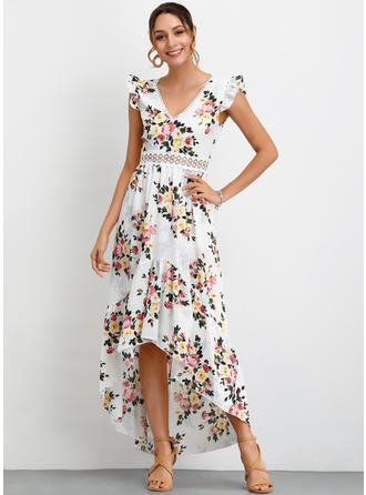 Print/Floral Cap Sleeve A-line Asymmetrical Party/Elegant Dresses