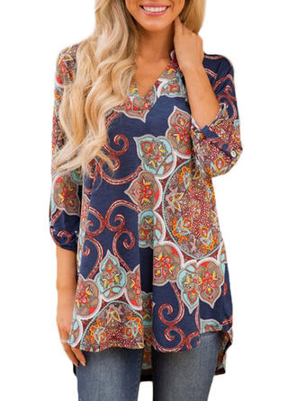 Polyester V Neck Print 1/2 Sleeves Casual Blouses