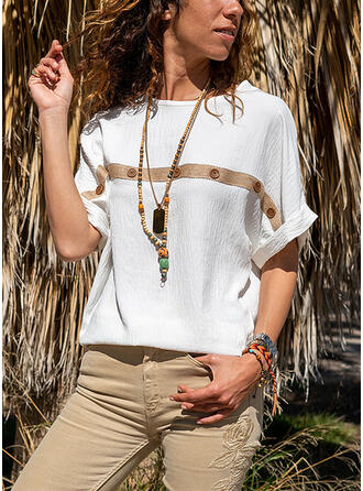 Print Solid Round Neck Short Sleeves T-shirts