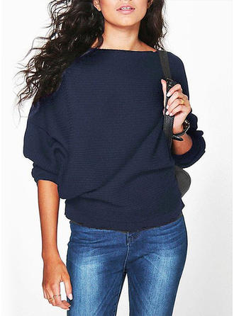 Solid Long Sleeves Casual Oversized Blouses