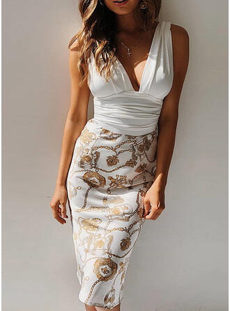 Print/Floral/Patchwork Sleeveless Bodycon Knee Length Sexy/Party Dresses