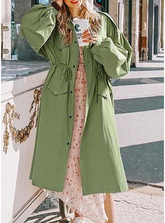 Coton Manches longues Couleur unie Manteau de Tranchée