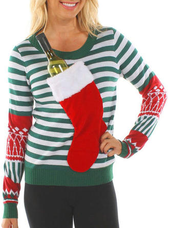 Women's Polyester Print Striped Ugly Christmas Sweater