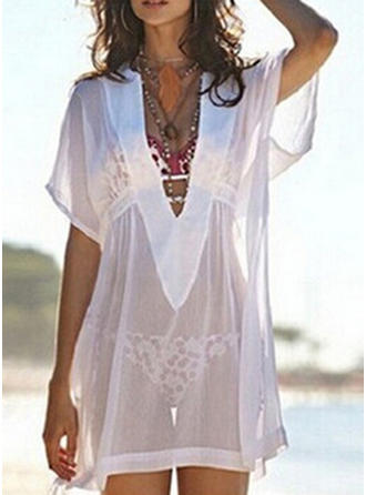 Solid Color V-neck Elegant Plus Size Cover-ups Swimsuits
