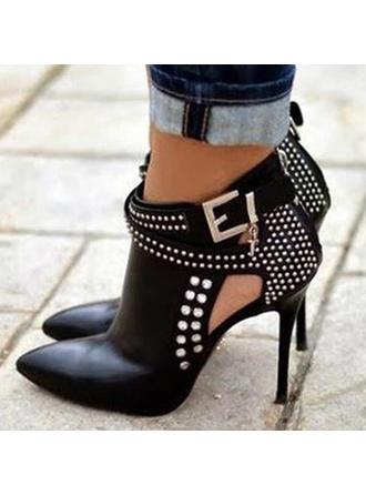 Femmes PU Talon stiletto Escarpins Bottes Bottines avec Rivet Boucle Zip chaussures