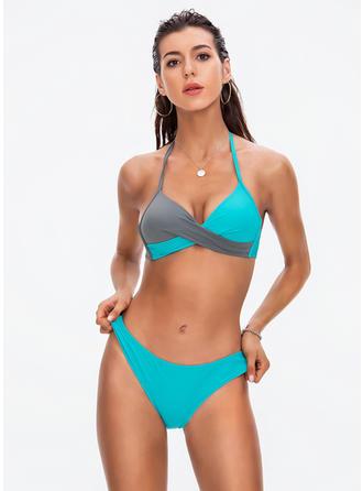 Trekant Halterudskæring V-hals Sexet Bikinier Badedragter