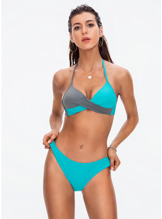 Triángulo Sin Mangas Escote en V Sexy Bikinis Trajes de baño