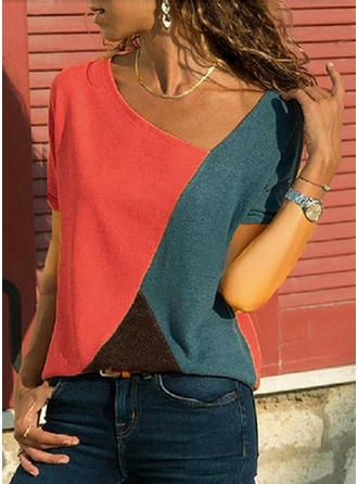 Bloque de color Escote en V Manga corta Casual Blusas